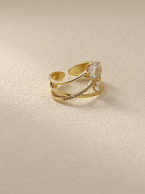 14k Gold Brass Rhinestone Cross Minimalist Stackable Ring