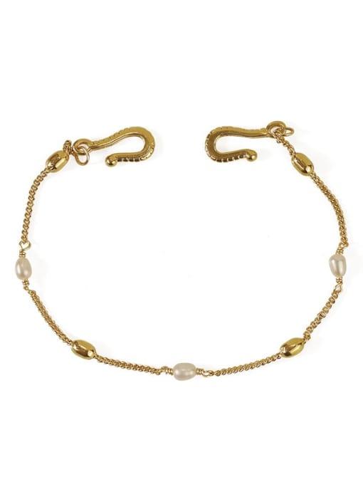 ACCA Brass Freshwater Pearl chain Vintage Link Bracelet 3