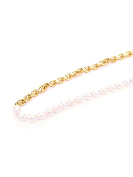 Five Color Brass Imitation Pearl Irregular Vintage Necklace 3