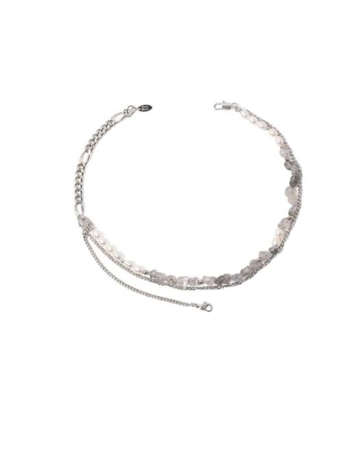 TINGS Brass Imitation Pearl Geometric Vintage Multi Strand Necklace 0