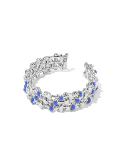ACCA Brass Enamel Geometric Minimalist Band Ring 0