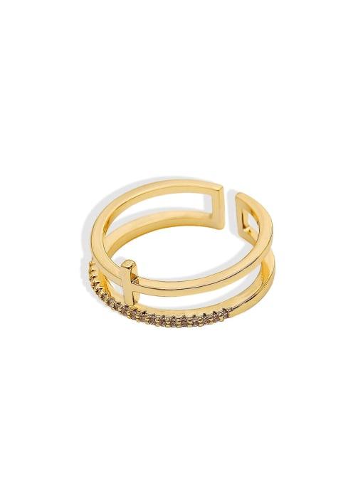 HYACINTH Brass Cubic Zirconia Geometric Minimalist Stackable Ring 3