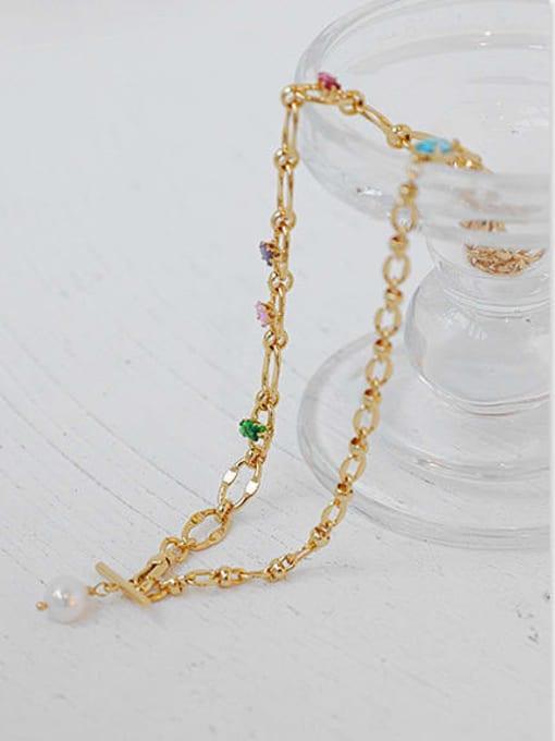 ACCA Brass Imitation Pearl Irregular Hip Hop Necklace 3