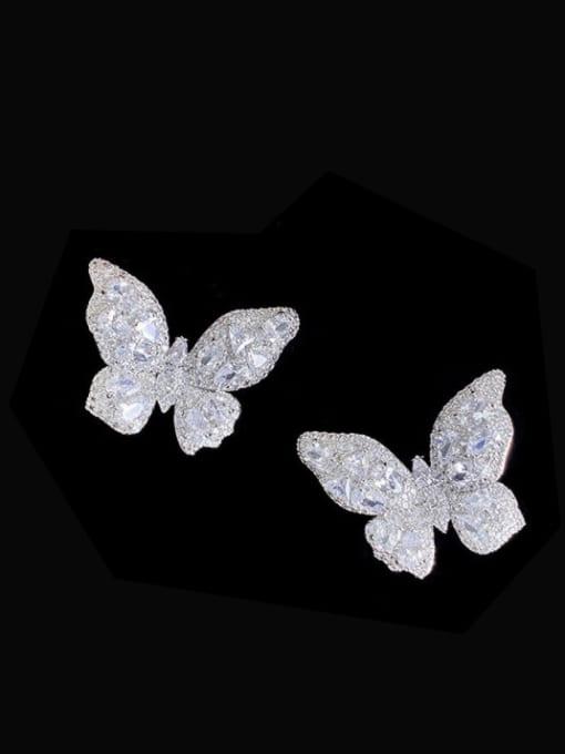 steel Brass Cubic Zirconia Butterfly Trend Stud Earring
