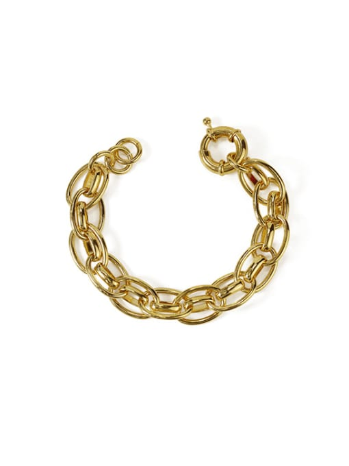 ACCA Brass Hollow Geometric  Chain Vintage Link Bracelet 0