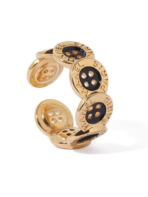 ACCA Brass Enamel Irregular Vintage Band Ring 4