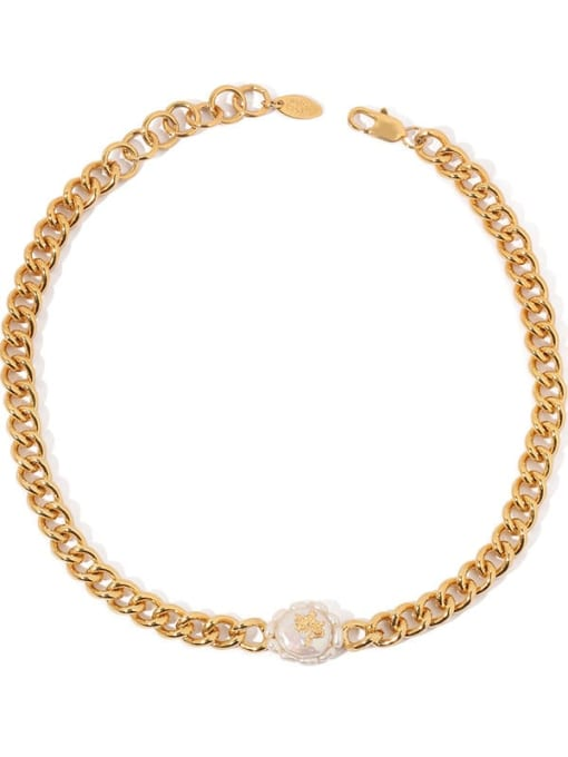 ACCA Brass Freshwater Pearl Geometric Vintage Necklace 3