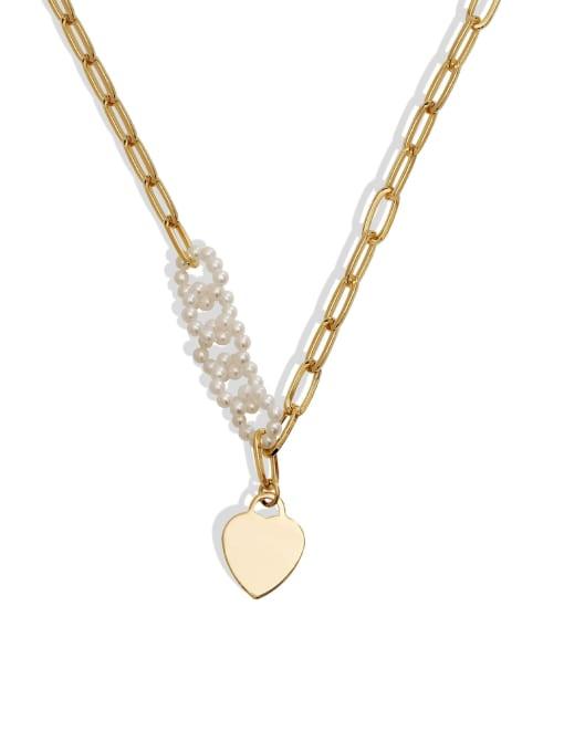 HYACINTH Brass Imitation Pearl Heart Minimalist Necklace