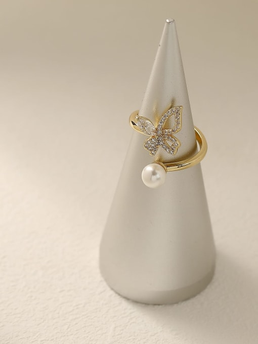 HYACINTH Brass Cubic Zirconia Butterfly Vintage Band Fashion Ring 3