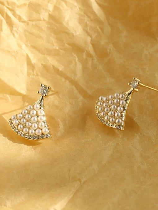 HYACINTH Brass Imitation Pearl Triangle Bohemia Stud Earring 4