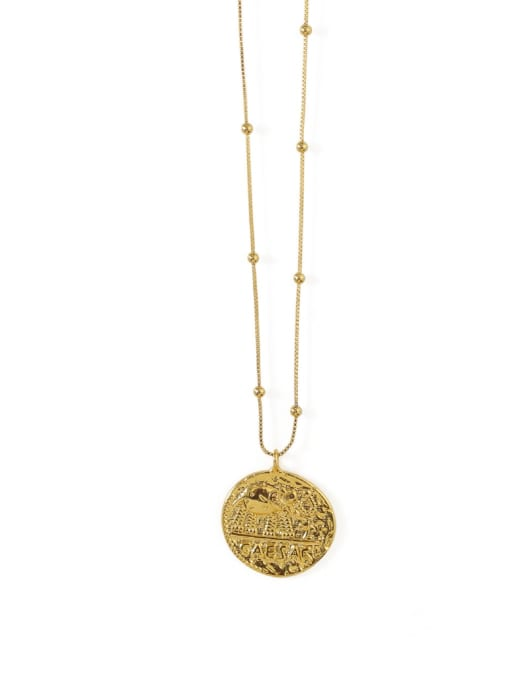 ACCA Brass  Vintage Elephant totem retro Medallion pendant Necklace 0