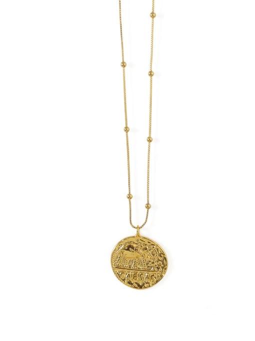 ACCA Brass  Vintage Elephant totem retro Medallion pendant Necklace