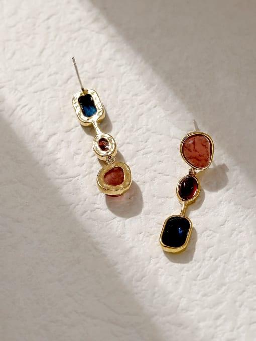 HYACINTH Brass Glass Stone Geometric Vintage Drop Trend Korean Fashion Earring 2