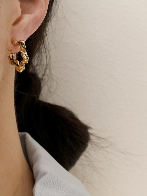 HYACINTH Brass Hollow Geometric Vintage Hoop Earring 1
