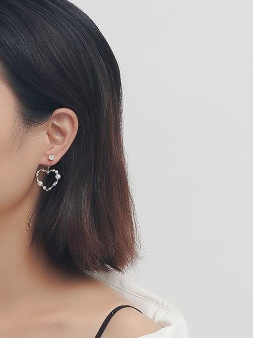 HYACINTH Brass Imitation Pearl Heart Vintage Drop Earring 2