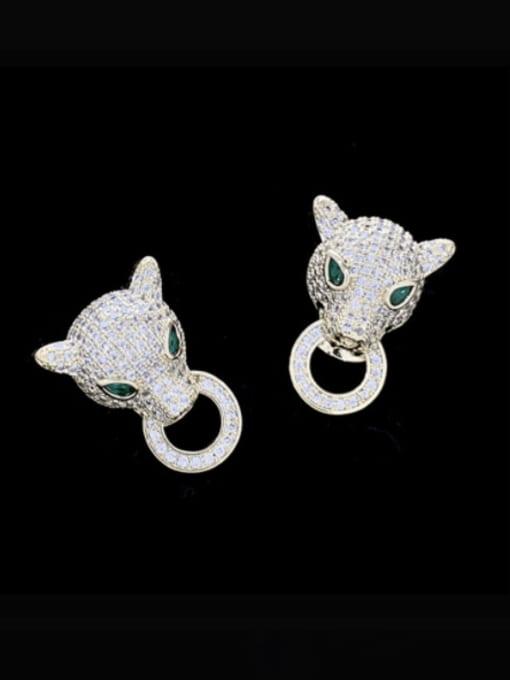 SUUTO Brass Cubic Zirconia Leopard Luxury Stud Earring 0
