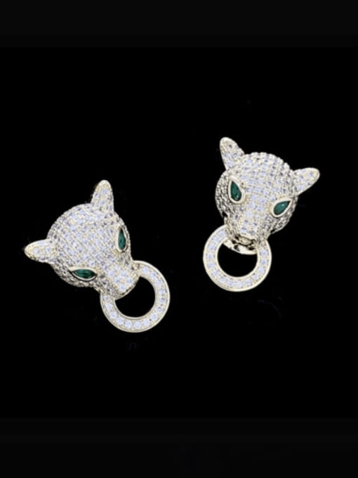 SUUTO Brass Cubic Zirconia Leopard Luxury Stud Earring