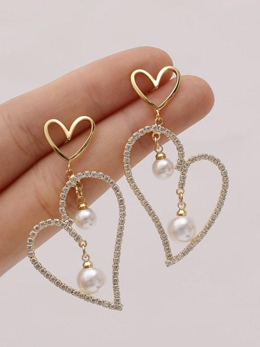 HYACINTH Brass Cubic Zirconia Heart Vintage Stud Earring 1
