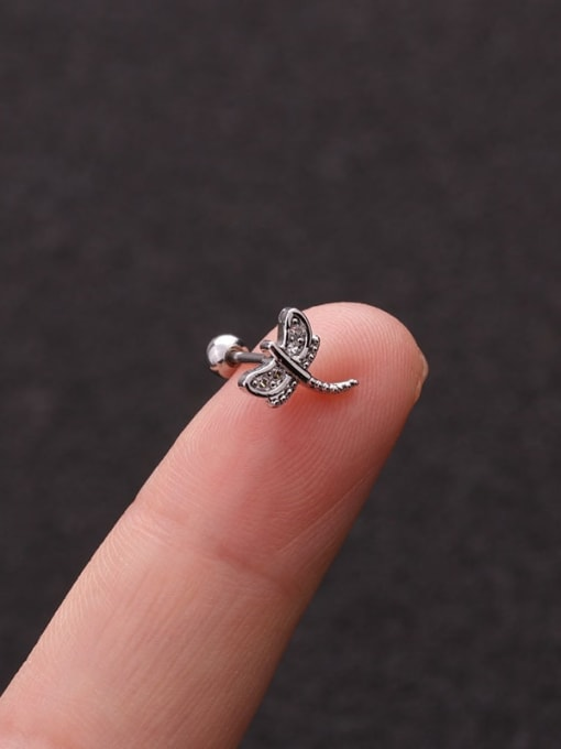 HISON Brass Cubic Zirconia Cross Cute Stud Earring 3