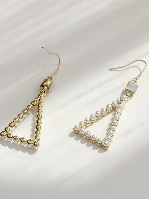 HYACINTH Brass Imitation Pearl Triangle Vintage Hook Earring 4