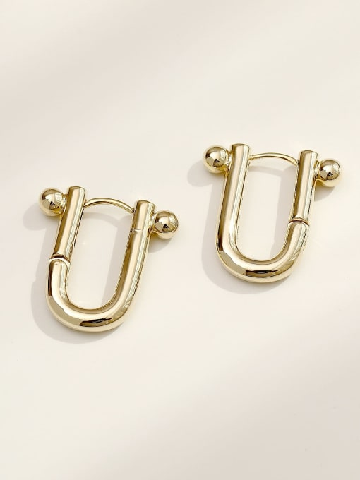 14K gold Brass Hollow Geometric Minimalist Huggie Earring