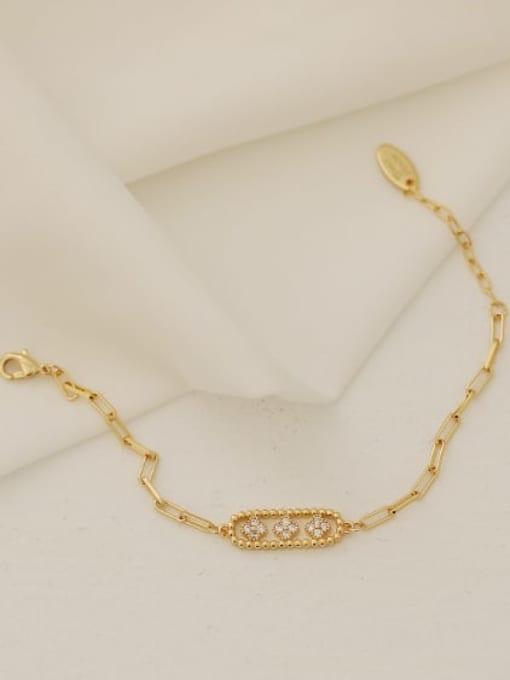 ACCA Brass Cubic Zirconia Geometric Vintage Link Bracelet