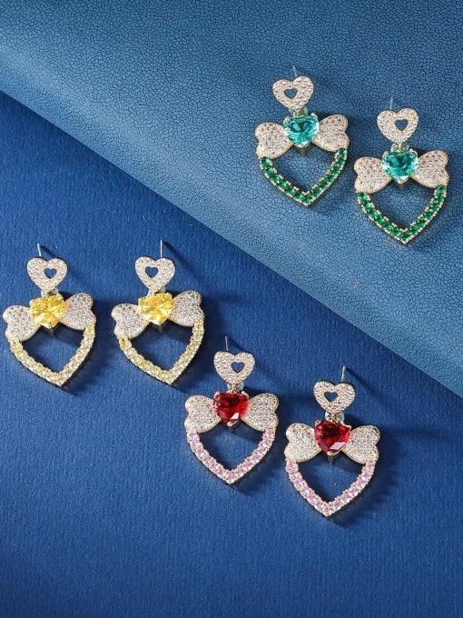 OUOU Brass Cubic Zirconia Heart Luxury Drop Earring 0