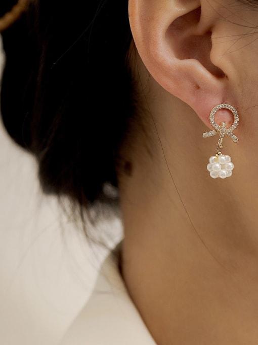 HYACINTH Brass Imitation Pearl Geometric Ethnic Drop Earring 1