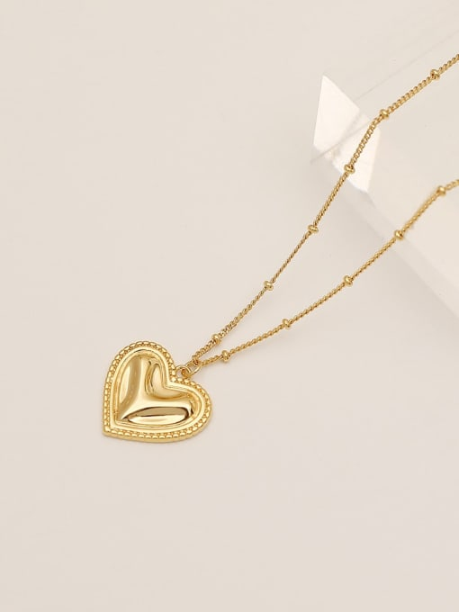 HYACINTH Brass Smooth Heart Vintage  Pendant Necklace 3