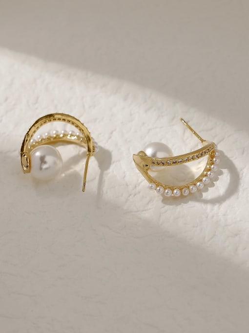 HYACINTH Brass Imitation Pearl Geometric Vintage Stud Trend Korean Fashion Earring 3