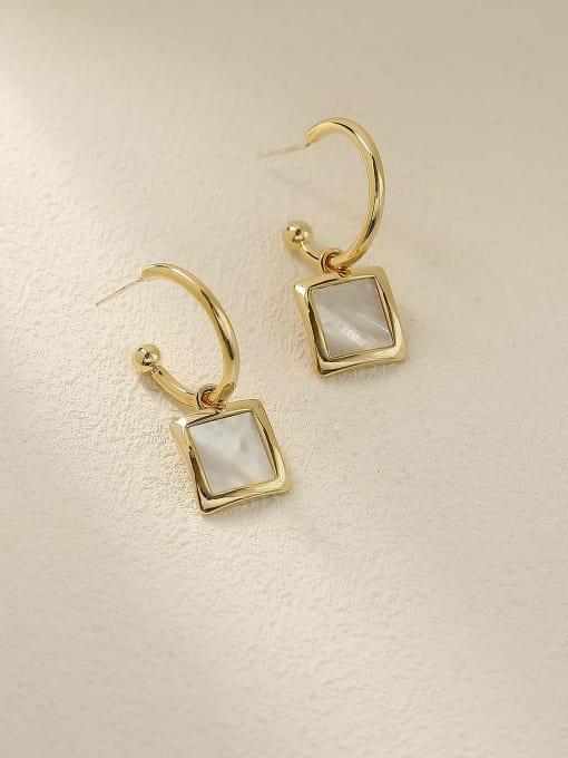 HYACINTH Brass Shell Geometric Vintage Hook Earring 2
