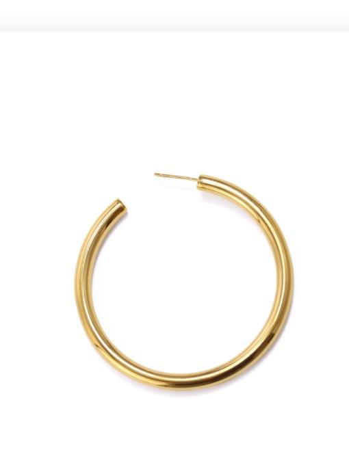 Big Brass Smooth Geometric Minimalist Hoop Earring