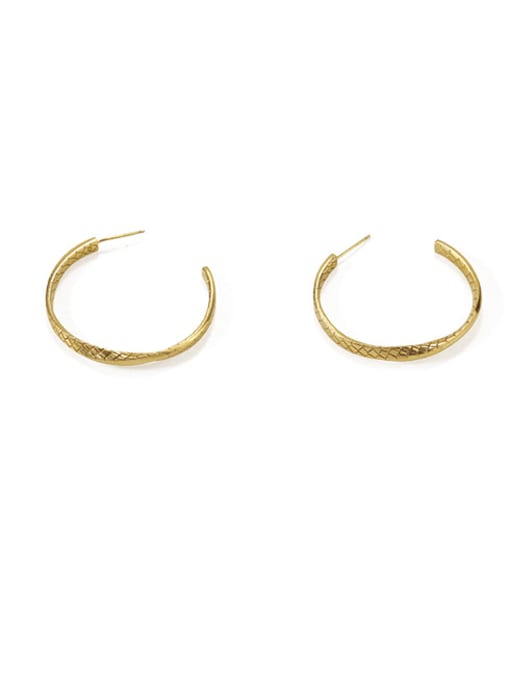 Item 3 Brass  Geometric Vintage  C shape Hoop Earring