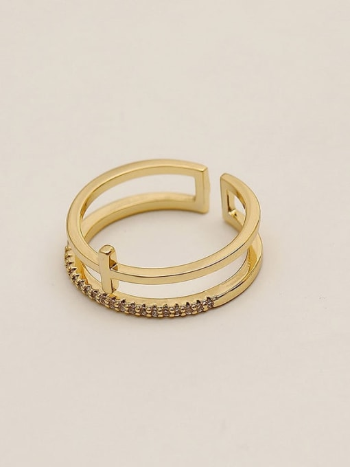 14k Gold Brass Cubic Zirconia Geometric Minimalist Stackable Ring