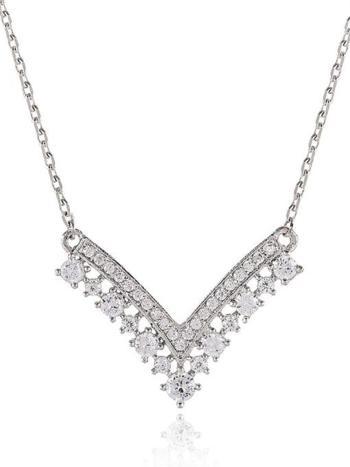 Platinum White Brass Cubic Zirconia Geometric Statement Necklace
