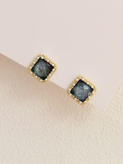 14k Gold Brass Resin Geometric Vintage Stud Earring