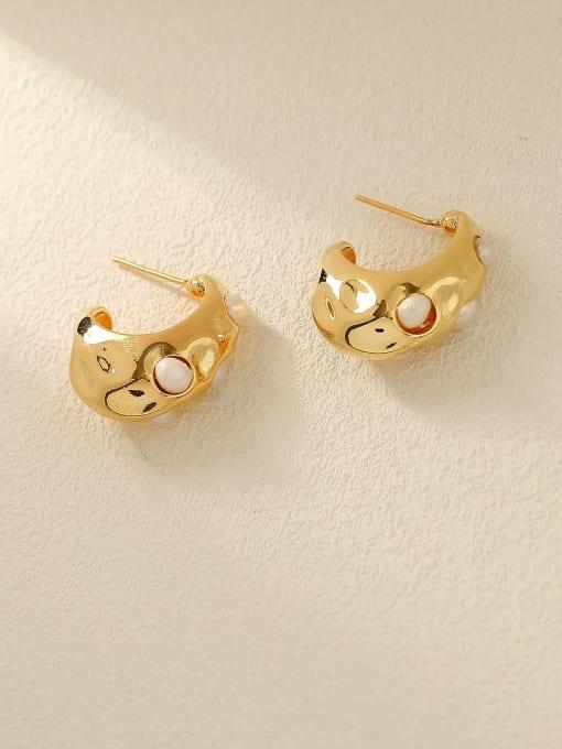 HYACINTH Brass Imitation Pearl Geometric Vintage Stud Earring 0