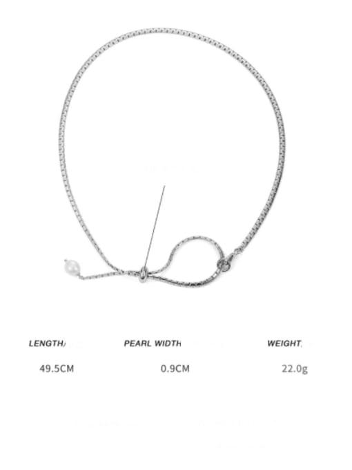 platinum (adjustable by pulling) Brass Imitation Pearl Geometric Minimalist Necklace