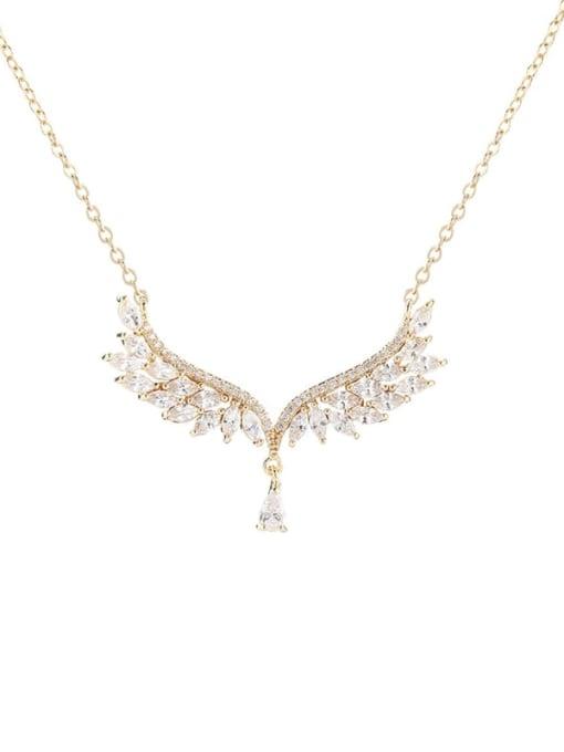 YILLIN Brass Cubic Zirconia Wing Minimalist Necklace
