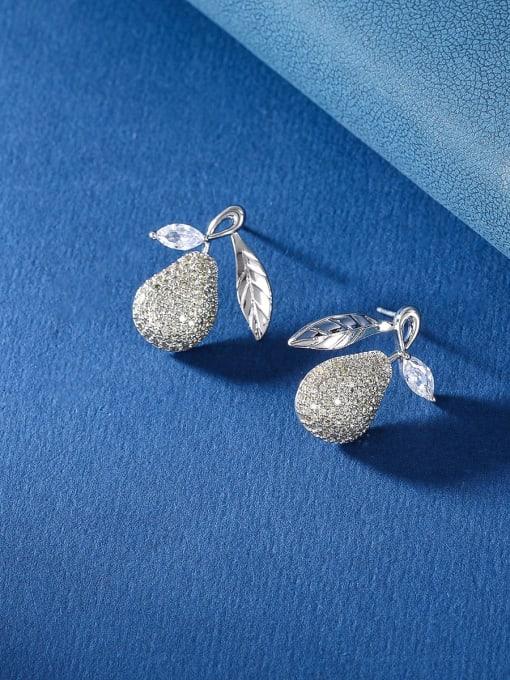 platinum Brass Cubic Zirconia Friut Luxury Stud Earring