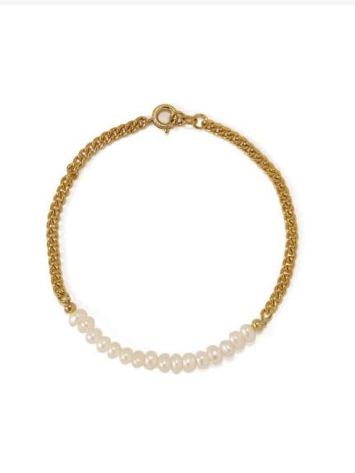 ACCA Brass Imitation Pearl Geometric Minimalist Link Bracelet