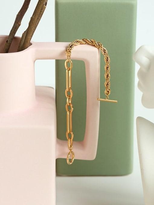 Five Color Brass Geometric Hip Hop Link Bracelet 3