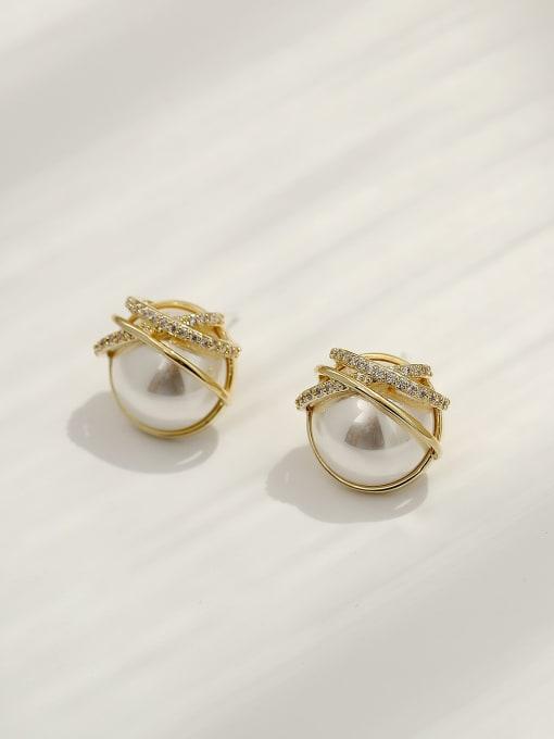 HYACINTH Brass Imitation Pearl Geometric Ethnic Stud Earring 3