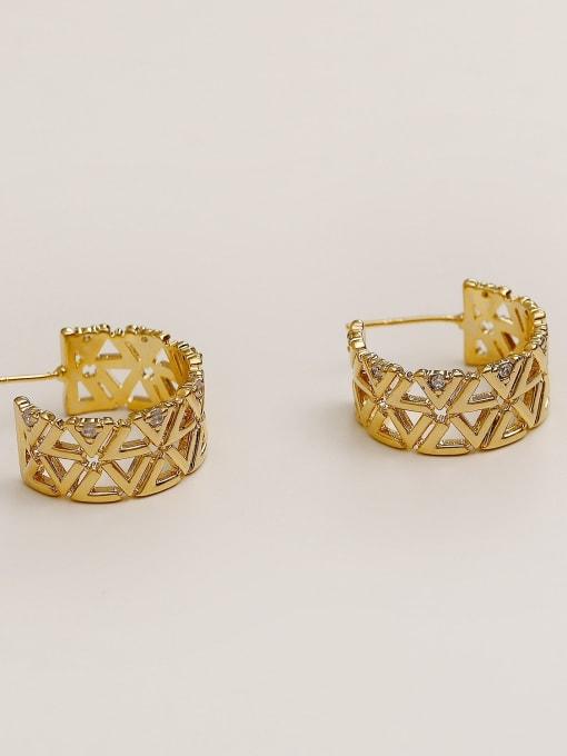 HYACINTH Brass Rhinestone  Hip Hop Hollow C-shaped  Stud Earring 3