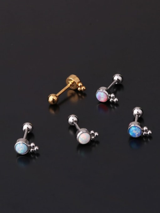 HISON Brass Opal Ball Hip Hop Single Earring 2