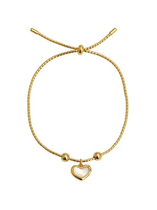 HYACINTH Brass Shell Heart Minimalist Adjustable Bracelet 4