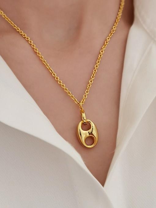 HYACINTH Brass Geometric Minimalist Necklace 1