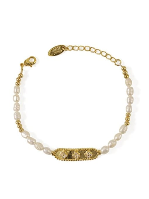 gold Bracelet Brass Freshwater Pearl Flower Vintage Bracelet