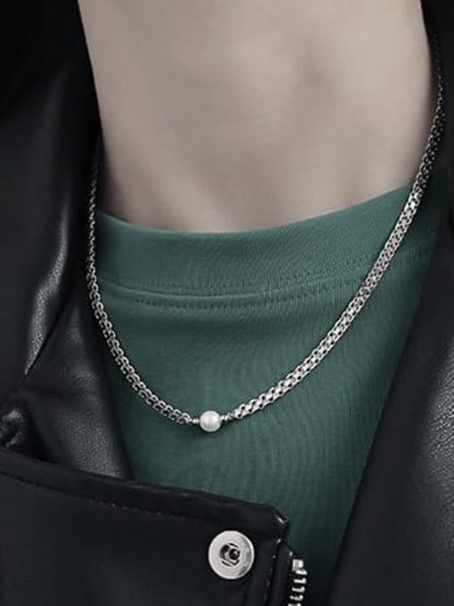 TINGS Brass Imitation Pearl Irregular Vintage Necklace 1