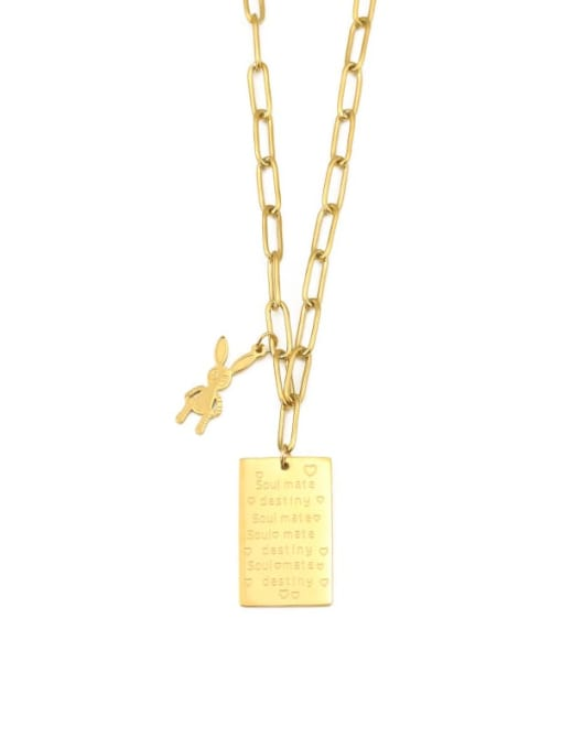 ACCA Titanium English square tag Personality  rabbit  Hip Hop Long Strand Necklace